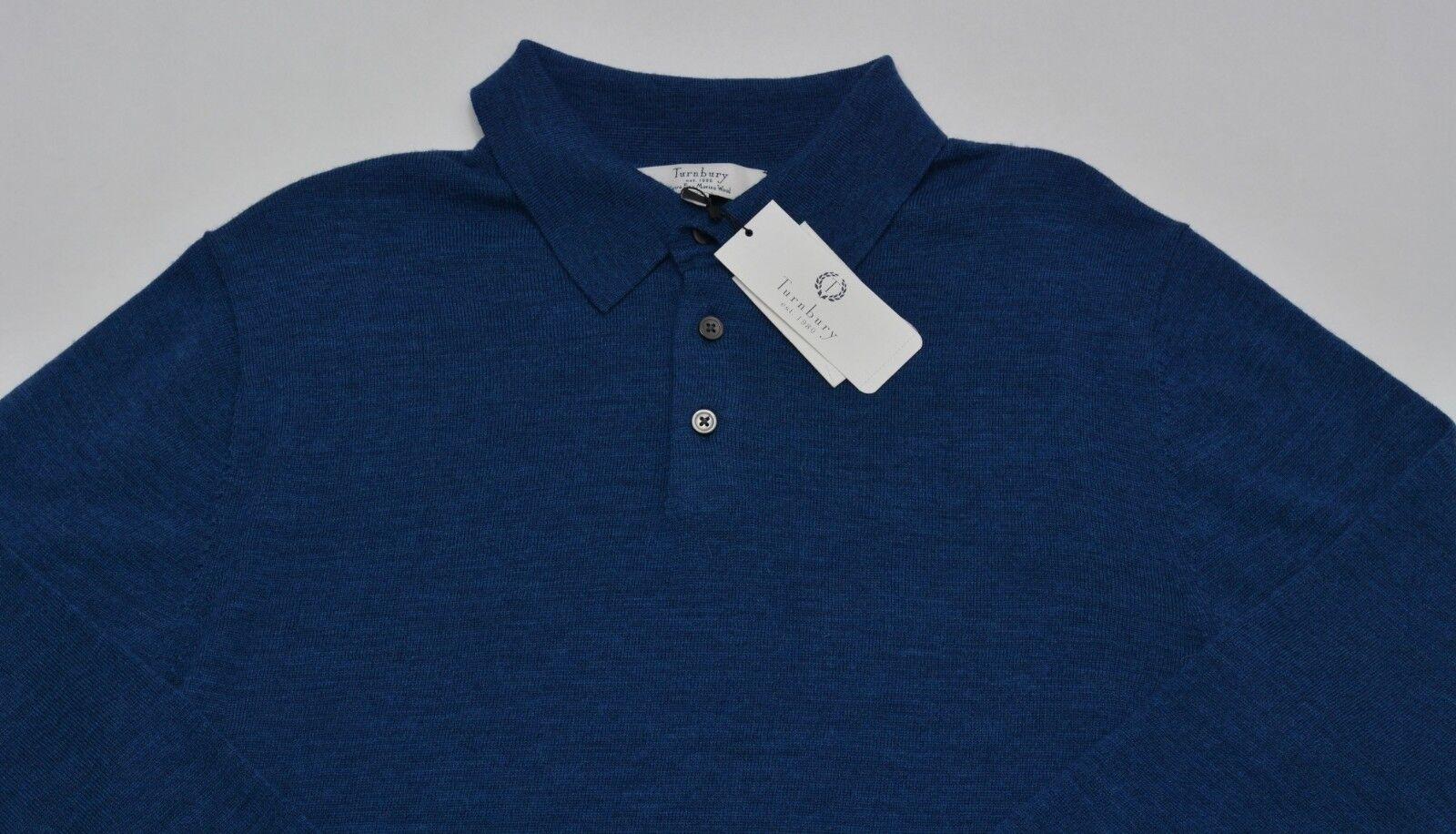 Men's TURNBURY Teal bluee Green Merino Wool Knit Shirt Sweater Small S NEW NWT