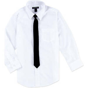 Details about George Boys White Long Sleeved Dress Shirt & Black Skinny Tie 4-5 XS, 8 M, 10-12