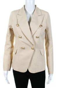 Lioness-Womens-Double-Breasted-Palermo-Blazer-Jacket-Light-Nude-Size-Medium