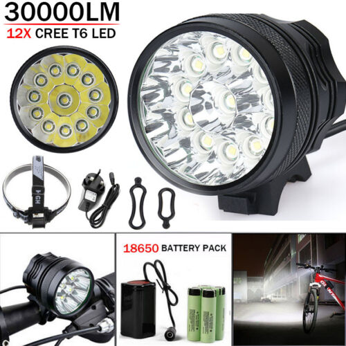 Waterproof 30000LM 12x CREE T6 LED 18650 Bicycle Cycling Head Light Lamp UK//US