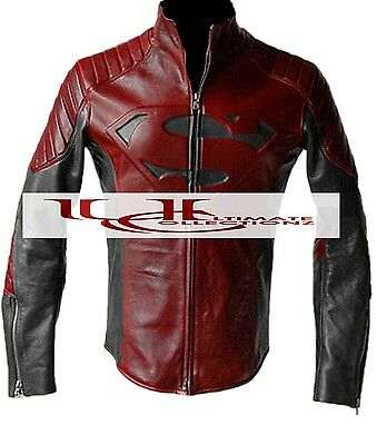 SUPERMAN MAN OF STEEL & SMALLVILLE BLACK AND RED LEATHER SHIELD JACKET- BNWT