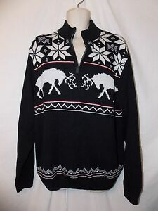 mens-ralph-lauren-chaps-reindeer-ski-sweater-XL-nwt-80-black-1-4-zip