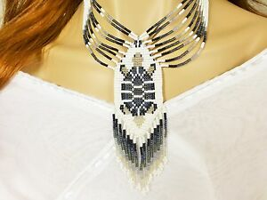 TURTLE-GREY-CHUNKY-NATIVE-STYLE-INSPIRED-BEADED-NECKLACE-EARRINGS-SET