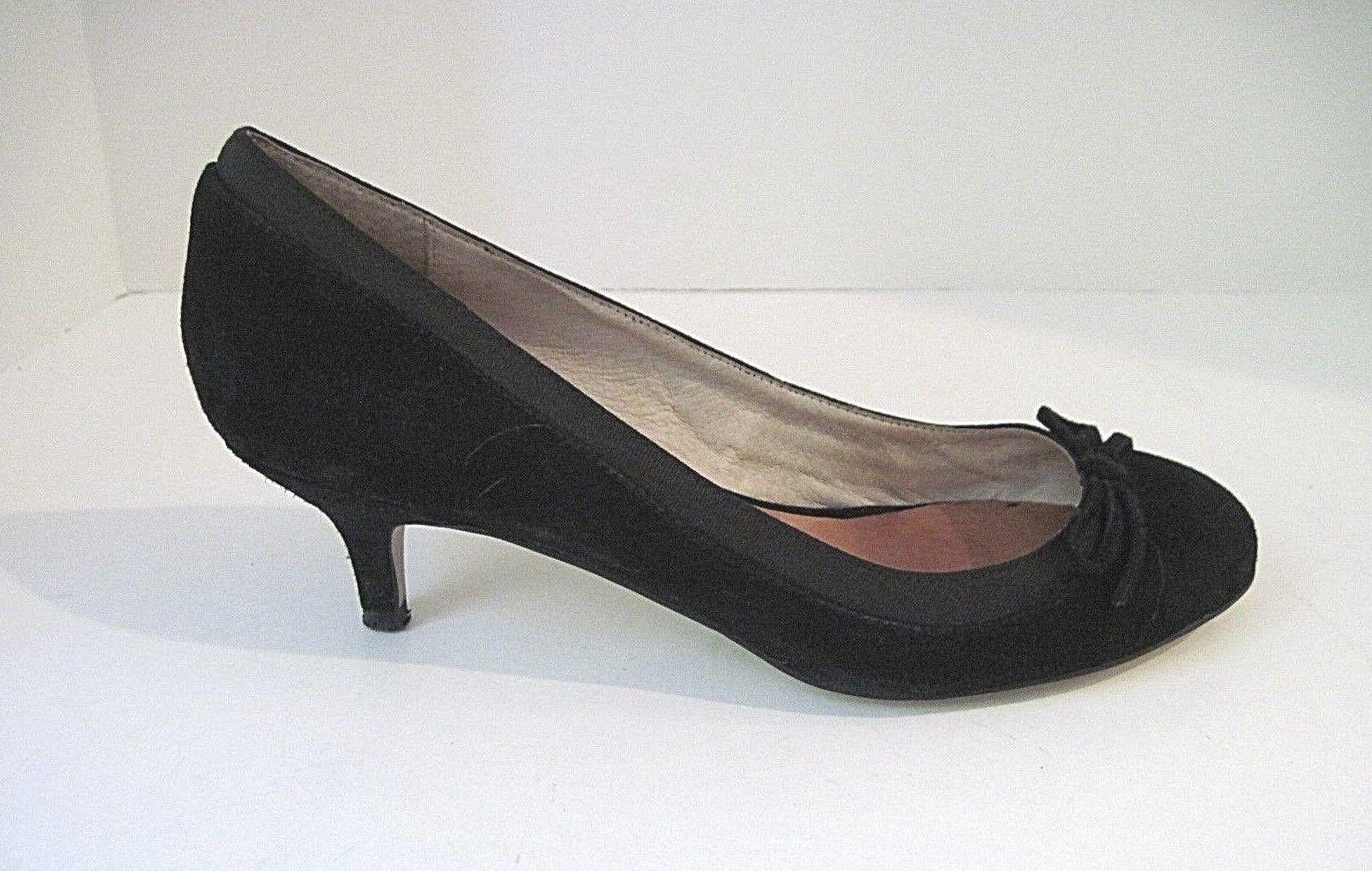 06380fa1d87 BUFFALO LONDON Black Suede Pumps Kitten Front Size 40 Heels Bow ...