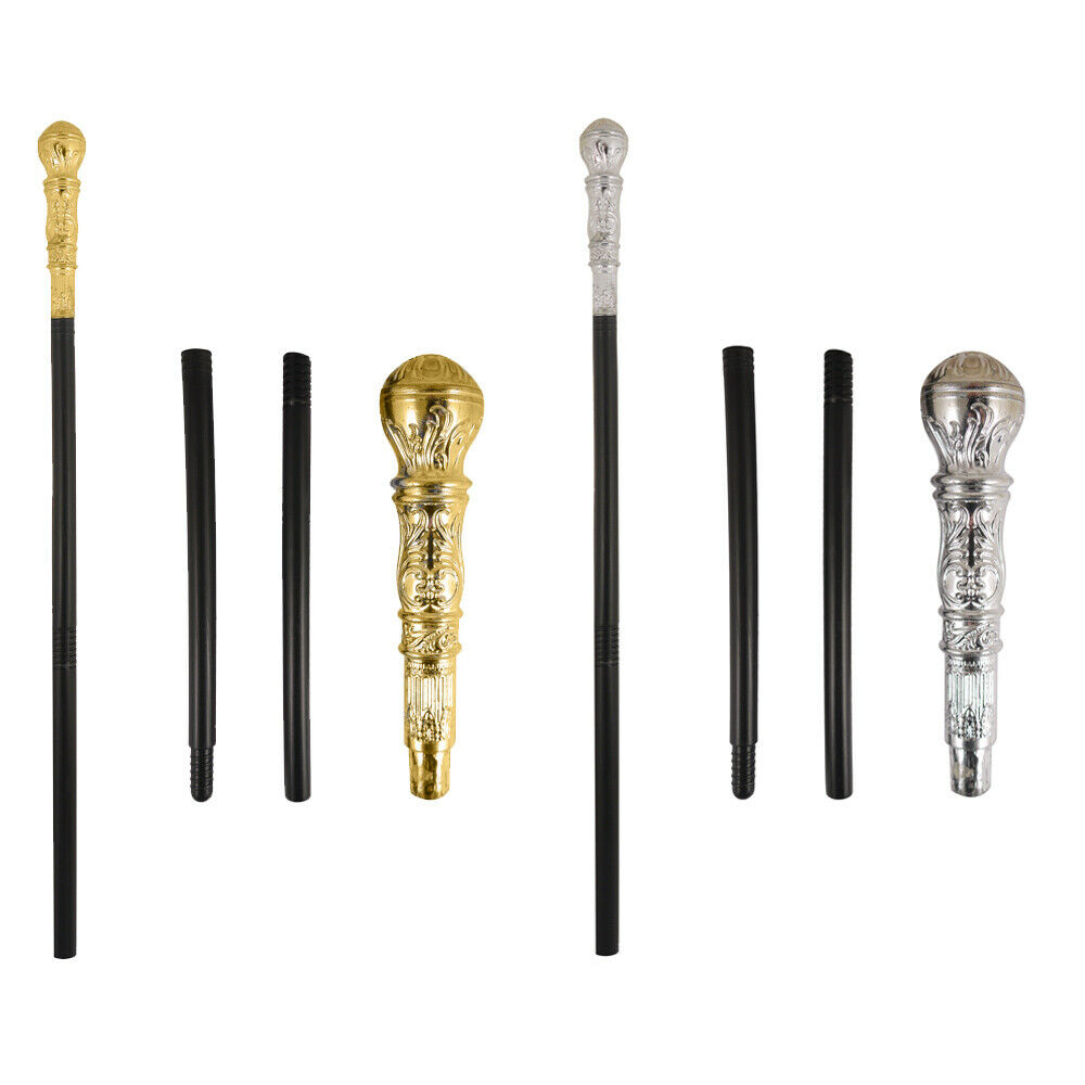 2 Pieces Vintage Walking Stick King Pimp Cane Antique Walking Cane Egyptian Staff Prop Accessory for Halloween Costume Cosplay Supplies Gold