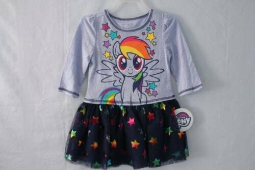 NEW Toddler Girls Dress Size 2T My Little Pony Blue 3//4 Sleeve Horse Star Outfit