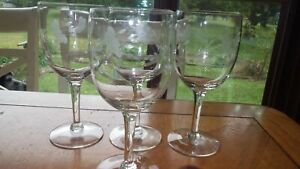Water Goblets Glasses Heritage by Princess House 4 11 ounce elegant stems