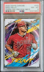 2020 Topps Chrome Fire Preview NBCD Mike Trout Angels PSA 8
