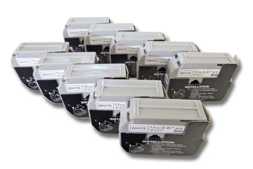 10x Schriftband 12mm BLACK//WHITE für BROTHER P-Touch MK231