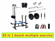 Home gym 30 kg weight 20 IN 1 bench 3 ft curl rod 5 ft plain rod  2 dumbbell