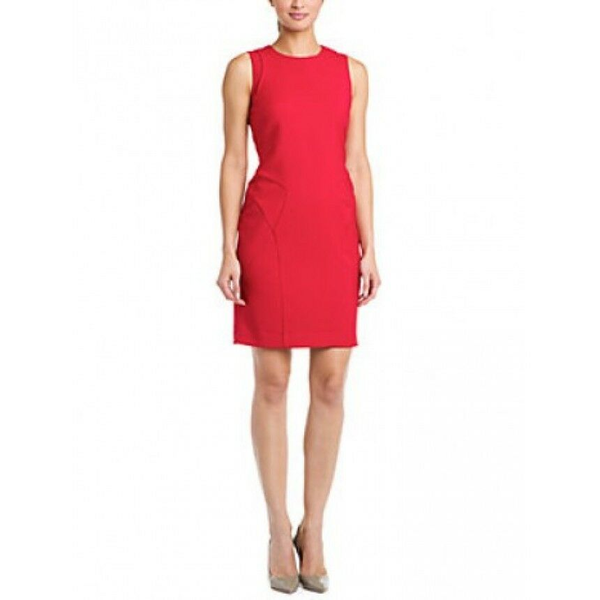 New Womens NWT Designer Paperwhite Collection Red Dress 12 Sheath Seamed Office