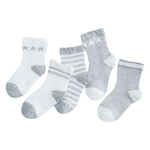 5 Pairs Baby Boy Girl Cotton Ankle Socks Newborn Infant Toddler Kids Sof ZDT