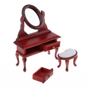 1:12 Dollhouse Miniature Bedroom Furniture Dressing Table Stool Set White