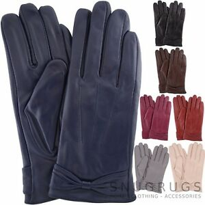 9fb4760880ab4 LADIES BUTTER SOFT PREMIUM REAL LEATHER GLOVES WITH BOW   3 POINT ...