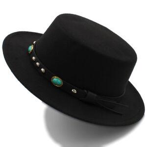 96870d592f Details about Unisex Women Men Flat Fedora Hat Gentleman Top Cloche Boater  Jazz Cap
