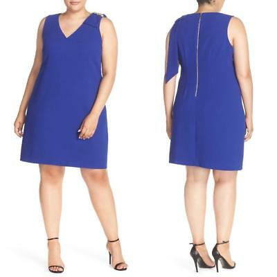 NEW ELIZA J Embellished CRYSTAL Bow ROYAL BLUE V-Neck Shift PLUS SIZE DRESS  22W | eBay