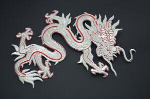 Silber-Rot-Chinesischer-Drache-20cm-20-3cm-bestickt-Naehen-Buegel-Patch