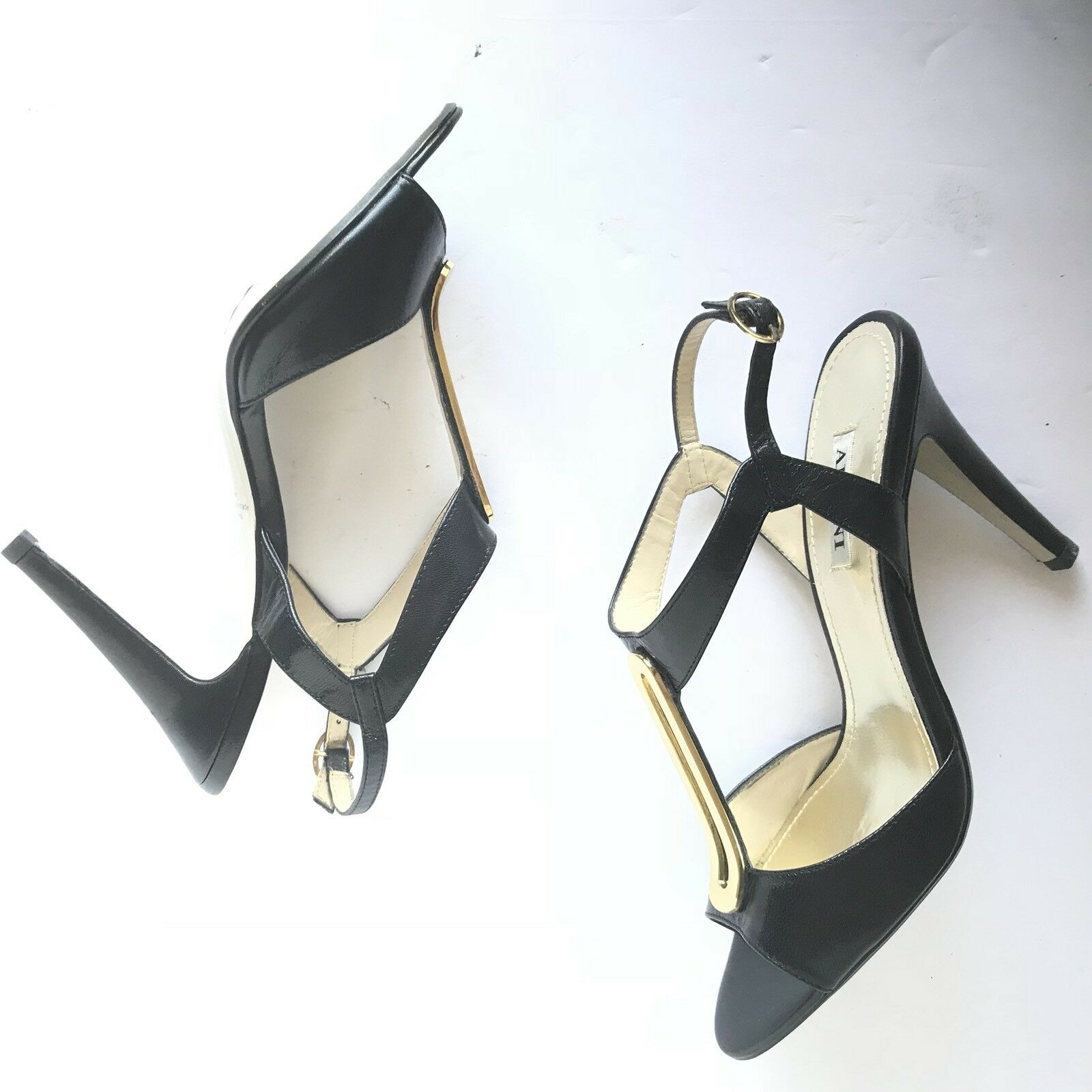 Alfani Asterik Black Leather Peep Toe with Gold Accent Sandals Heels - sz. 6.5