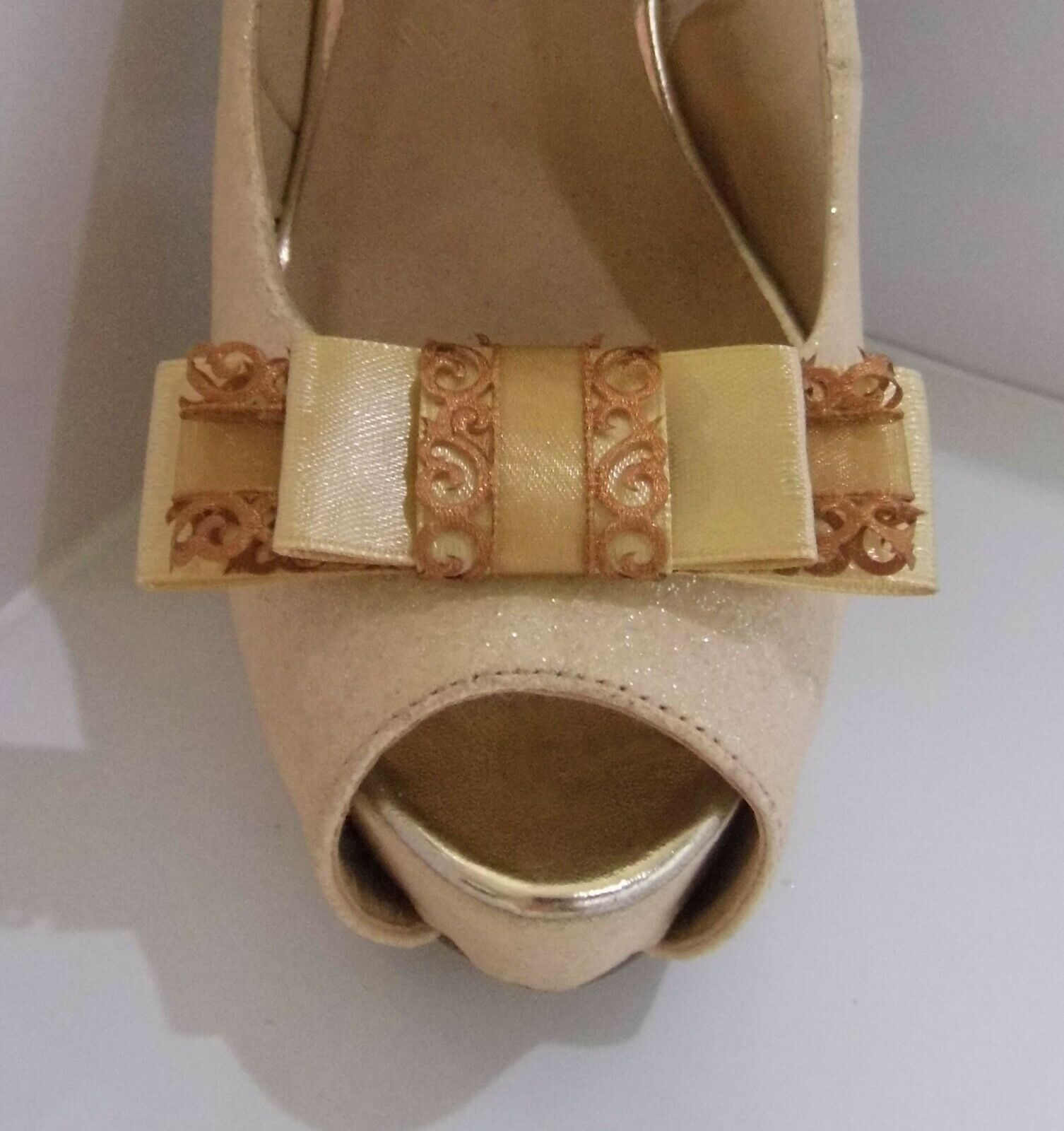 2 Gold Triple Bow Clips for Shoes with Filigree Edge