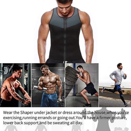 Men/'s Gym Neoprene Sauna Vest Sauna  Sweat Shirt Body Shaper Slimming Tank H