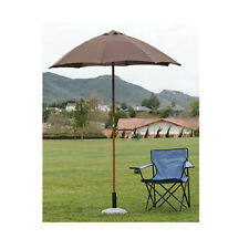 6 Ft Light Polyester Beach Umbrella Canopy Brown Patio Camping Outdoor Deck RV