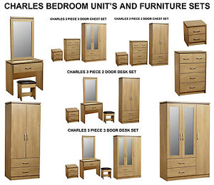 Charles-Modern-Oak-Large-3-Door-Mirrored-Wardrobe-Unit-amp-Bedroom-Furniture-Sets