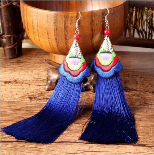 Women Fashion Long Tassel Fringe Ethnic Embroidery Hook Earrings Dangle Bohemian