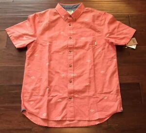 c80d9f95 Vans Houser SS Mens Tomato Red Short Sleeve Button Up Fish Print ...