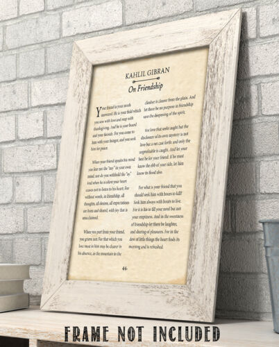Details about  /Kahlil Gibran 11x14 Unframed Typography Book Page Print Gift On Friendship