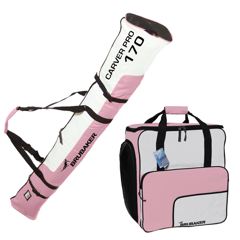 BRUBAKER Combo Ski Bag + Boot Bag Light Pink   White 170 cm Length