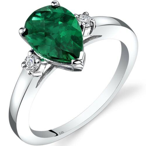 14K White Gold Created Emerald Diamond Tear Drop Ring 1.75 Carat Size 7