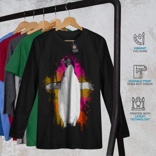 Funny Casual Design Wellcoda Penguin Music Fan Womens Long Sleeve T-shirt
