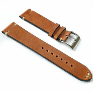 20mm-High-Quality-Brown-Hand-Stitched-Italian-Leather-Vintage-Watch-Band