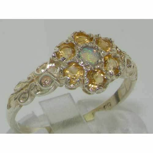 10ct White gold Natural Opal & Citrine Ladies Vintage Daisy Ring - Sizes J to Z