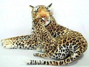 XXL-PLUSCHTIER-LEOPARD-mit-BABY-90-cm-gross-Pluesch-Plueschleopard-Kuscheltier