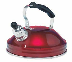 WHISTLING CAMPING KETTLE 1.5L WITH FOLDING HANDLE - RED - CARAVAN MOTORHOME BOAT
