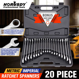 20pc-Ratcheting-Combination-Wrench-Set-SAE-Inch-Imperial-Metric-MM-Tool-With-Box
