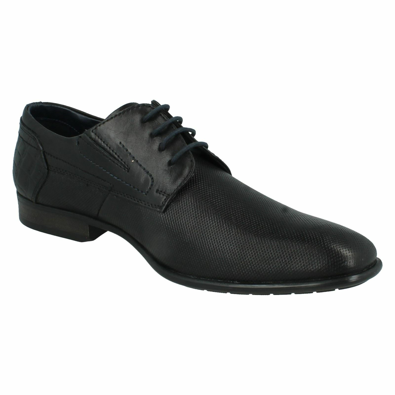 Mens Black Leather Lace Up Formal Bugatti Shoes 311-18801