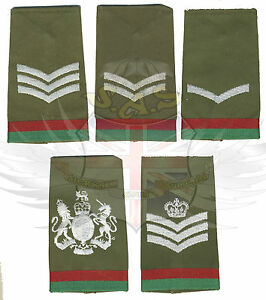 BRITISH-ARMY-SURPLUS-OLIVE-GREEN-RANK-SLIDE-RED-amp-GREEN-TRIM-CORPORAL-SERGEANT