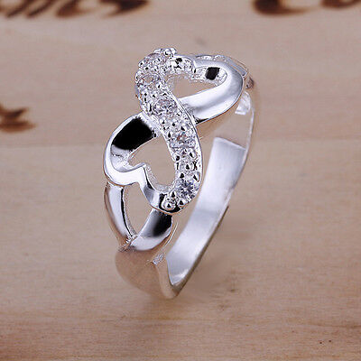 925 Sterling Silver Filled Infinity Design Heart Ring Size 6 to 10 Wedding