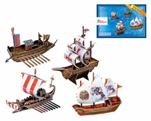ab 8 Jahre 3D Puzzle Schiffe 4 Stück 73 Teile