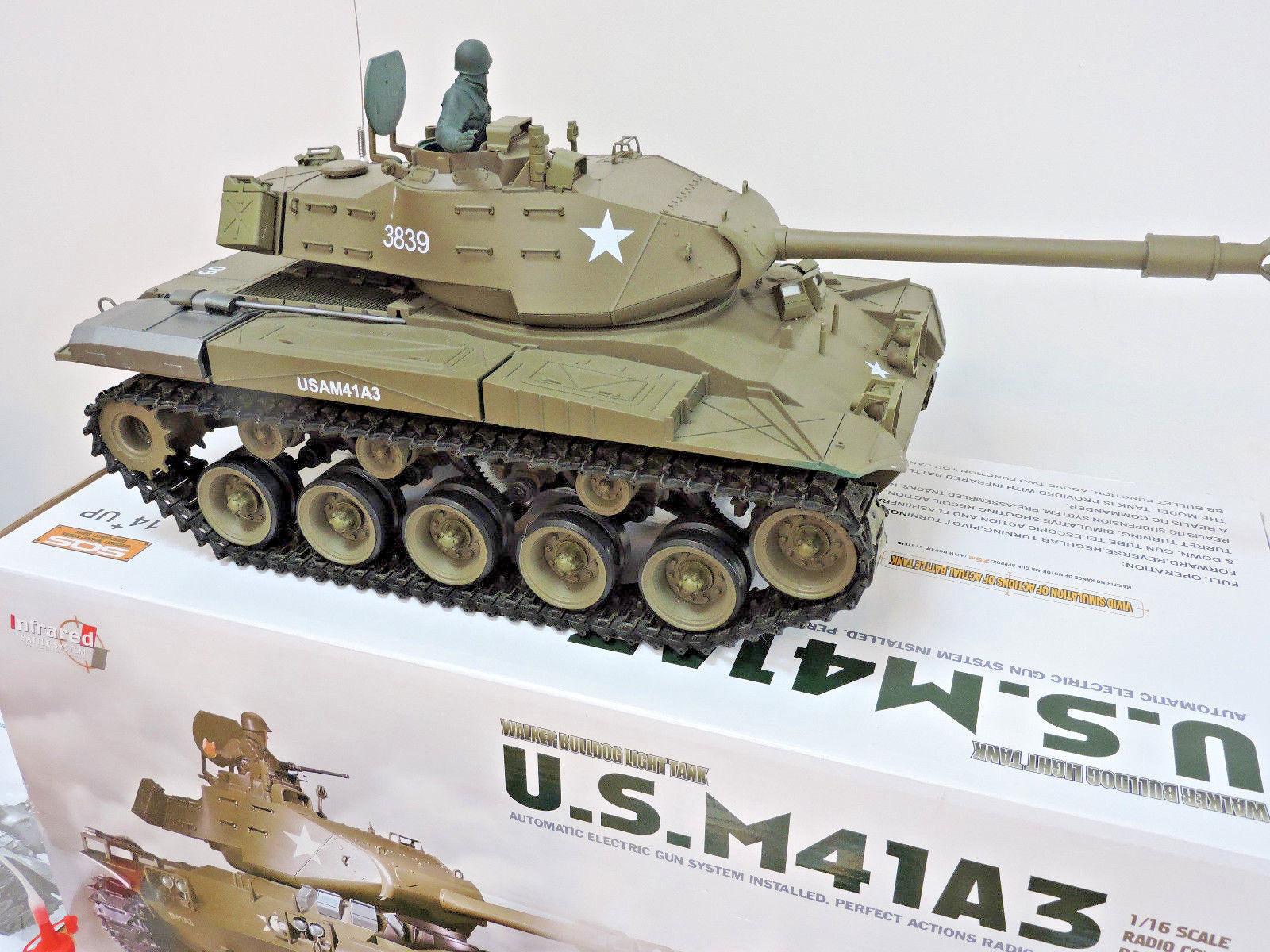 Bulldog M41A3 US Military FUMARE RC Radio Telecomando BATTLE TANK Heng Lungo
