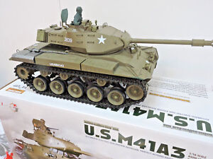 Bien Bulldog M41a3 Militaire Américaine Fumer Rc Radio Télécommande Char De Combat Longues Heng-afficher Le Titre D'origine Mode Attrayante