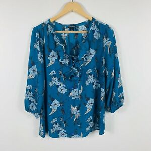 New-Directions-Womens-Top-Size-Medium-Floral-Gorgeous-Top-Long-Sleeve-With-Tags