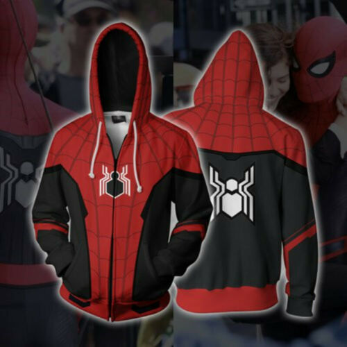 Spider-Man Far From Home Hoodies 3D Print Sweatshirt Cosplay Hooded Jacket Coat