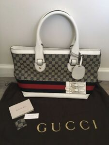 8f58b150c36d Details about New Auth Gucci Navy White Red Signature GG Canvas Leather  Heritage Web Tote Bag