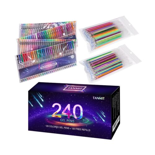 Writing Kid Drawing 120 Tanmit 240 Color Gel Pens Set for Adult Coloring Books