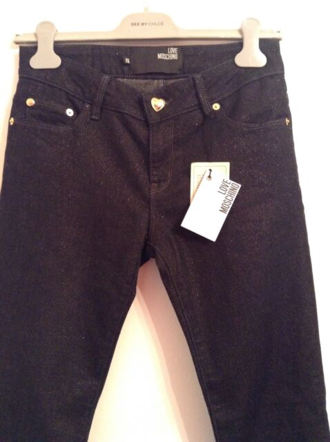 BNWT 100% auth Moschino Skinny Jeans With Gold Tread. 25 RRP £280.00