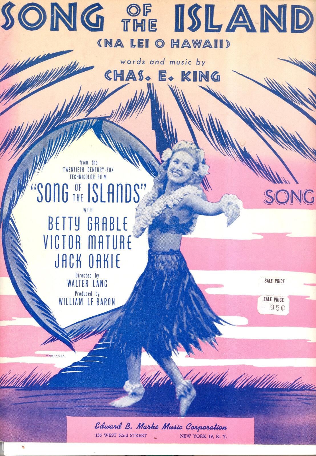 Canción de las islas partituras  canción de las islas islas islas  Betty Grable  en stock