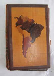 Antique-Blotter-Folio-Book-South-America-Various-Inlaid-Woods-Treen-Desk-Top